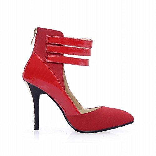 Latasa Womens Sexy Cinturino Alla Caviglia Fibbie Con Cerniera Posteriore Stiletto Scarpe Col Tacco Alto Scarpe Rosse
