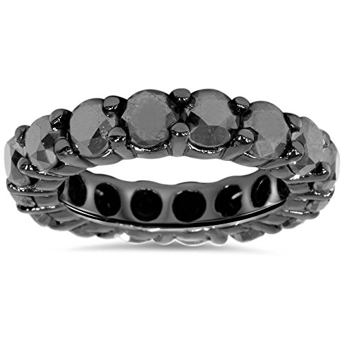 - 5ct Black Diamond Eternity Ring 14K Black Gold - Size 6.5