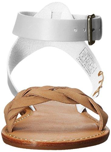 Soludos Women's Braided Ankle Strap Leather Flat Sandal White HtjU9u