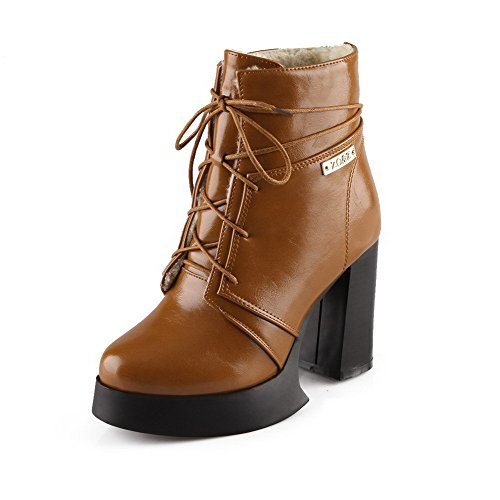 Allhqfashion Mujeres Pu Low-top Sólido Con Cordones De Tacones Altos Botas Brown