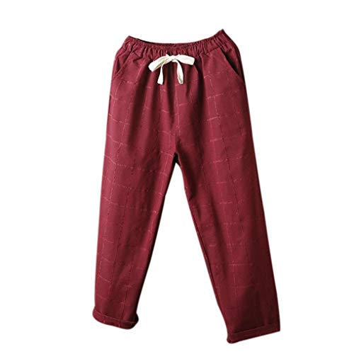 - BODOAO Womens Casual Harem Pants Waist Paperbag Trousers Striped Lattice Pants