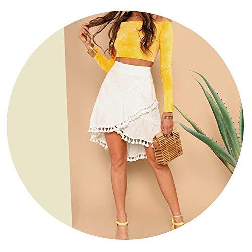 White Casual Wide Waist Hem Mid Waist Solid Asymmetrical Wrap A Line Beach Midi Skirts,White,M