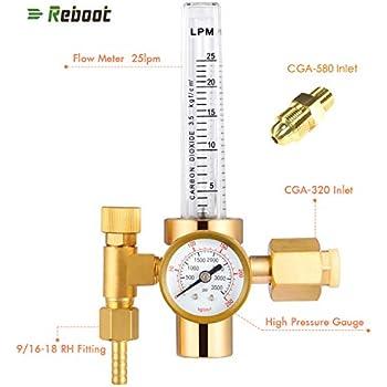 CO2 Full Copper Flowmeter Welding Regulator Gas Valves Welding Accessory For Mig Welder with Argon Adapter
