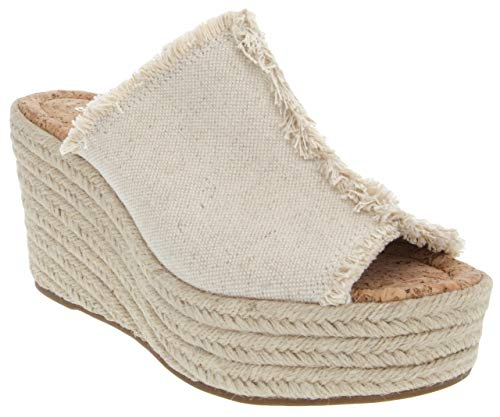 Rampage Women's Halper Slide On Espadrille Platform Wedge Sandal 8 Natural