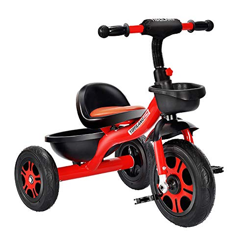 Kids Tricycle,Children Pedal Smart Design 3 Wheeler,Toddlers Children Ride on Pedal Trike Bike Metal Frame 18 Months to 5 Years, red