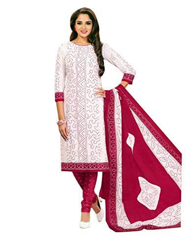 Salwar White Kameez - Ladyline Readymade Bandhej Printed Pure Cotton Salwar Kameez Dress Indian (Size_40/ White)