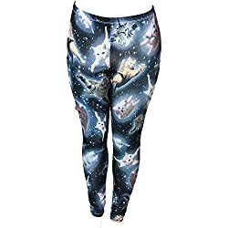 Cute Space Kitten Ladies Leggings MediumBlack