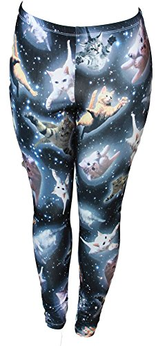 Cute Space Kitten Ladies Leggings - Large, Black