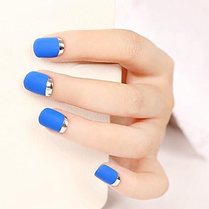 YUNAI Diseño de uñas uñas postizas de Pretty Designs Mate azul real con clavos falsos de