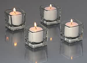 Candles4Less - 72 Pieces Clear Glass Square Votive Candle Holders + 72 White Votive Candles