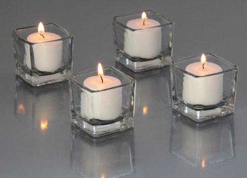 Candles4Less - 72 Pieces Clear Glass Square Votive Candle Holders + 72 White Votive Candles by Candles4Less