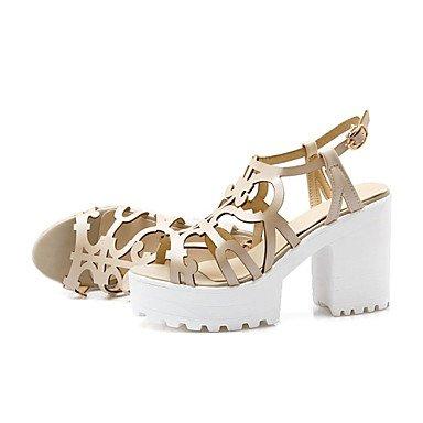 LvYuan Mujer-Tacón Robusto-Zapatos del club Innovador Gladiador-Sandalias-Vestido Informal-Semicuero-Azul Rosa Blanco Beige White