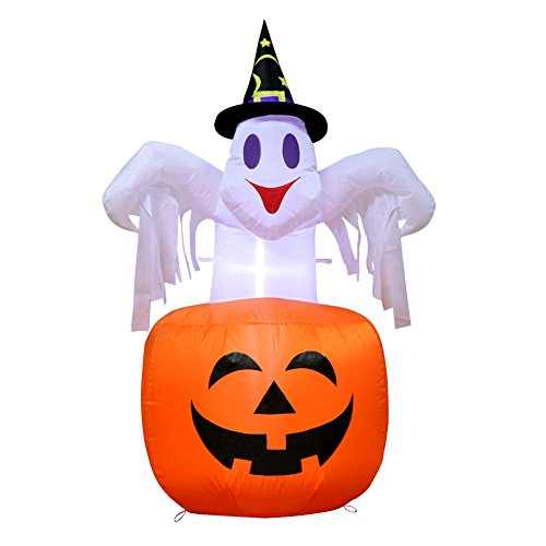 (Aytai 4.6ft Halloween Inflatable Pumpkin and Ghost with Witch Hat, Scary Halloween Inflatable Blow in Pumpkin Up with Light for Garden Yard Outdoor Halloween Decoration)