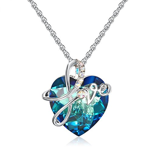 Lee Island Fashion Jewelry 18K White Gold Plated Necklace with Blue Heart Austrian Crystal Fall in Love Pendant Enhancers,18 Inches Chain for Woman Gift