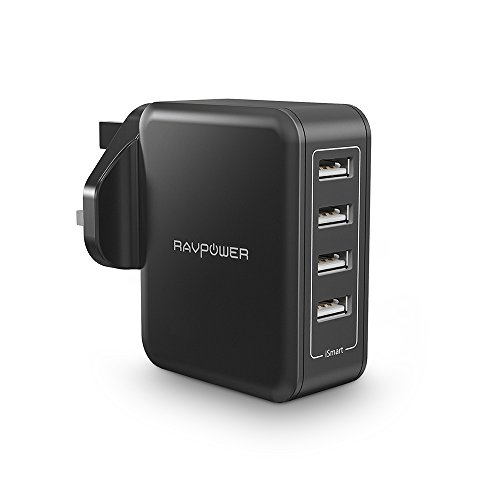 Wall Charger, RAVPower 40W 8A 4-Port USB Charger with iSmart 2.0, Travel...