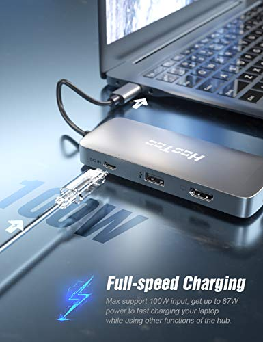 [Upgrade] HooToo USB C Hub 8-in-1 4K HDMI Adapter, 100W Power Delivery, USB 3.0 Ports, 1Gbps Ethernet, SD/TF Card Readers for MacBook/Pro/Type-C Laptops