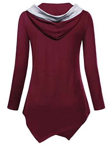 V Neck Sweater Women, Miusey Juniors Knit Extra Long Sleeve Jersey Red Pullover Hooded Sweatshirt Christmas Plus Size Tops Casual Cotton Baggy Prime Swing Tunic Blouses with Kangaroo Pocket Burgundy M