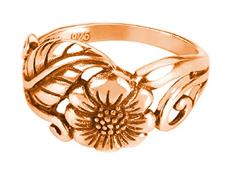 CloseoutWarehouse Rose Gold-Tone Plated Sterling Silver Karen's Flower Ring Size 11