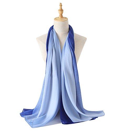 Blue Silk Long Scarf (Bellonesc Silk Scarf 100% silk Long Lightweight Sunscreen Shawls for Women (blue-light blue))