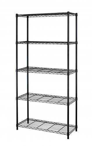 5-Tier Chrome Shelf Closet Book Display Metal Frame Narrow Shelving Storage Organizer Black US #424d (Fireplace Wood Box Plans)