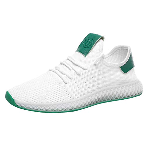 (iHPH7 Sneakers Ultra Lightweight Comfortable Work Tennis Running Shoes Solid Color Matching Mesh Breathable Sneakers Casual Wild Running Shoes Men (44,White))