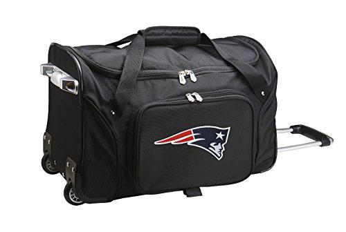 "NFL New England Patriots Wheeled Duffle Bag, 22 x 12 x 5.5"", Black from Denco"