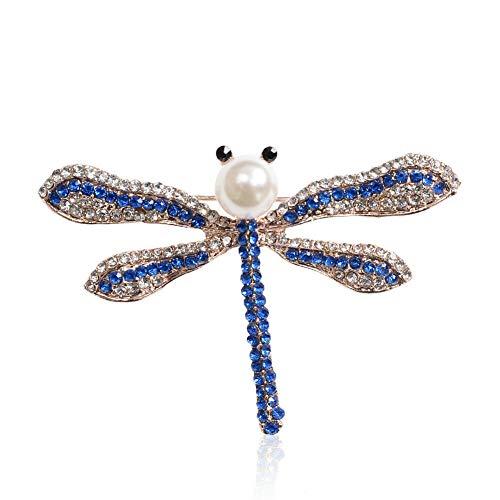 (3D Animal Pearl Rhinestone Crystal Vintage Enamel Brooch Pin Brooches Fox Owl (StyleID - 11@Dragonfly)