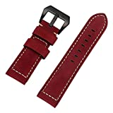 JDgoods Watch Band Replacement Leather Padded Buckle Wrist Band Strap 26 MM Brings New Life to Any Watch (Red)