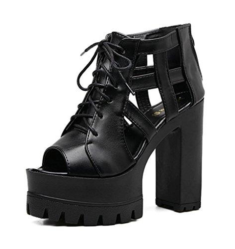 MNII Damen Chunky Sohle Block Ferse Sandalen Schuhe GrößEDamenss GrößEDamenss GrößEDamenss KnöChelriemen Plattform schwarz fa52c1