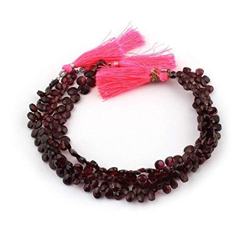 1 Strand Natural Garnet Faceted Briolettes - Pear Drop Beads 5mmx5mm-6mmx7mm 10 Inches by Gemswholesale