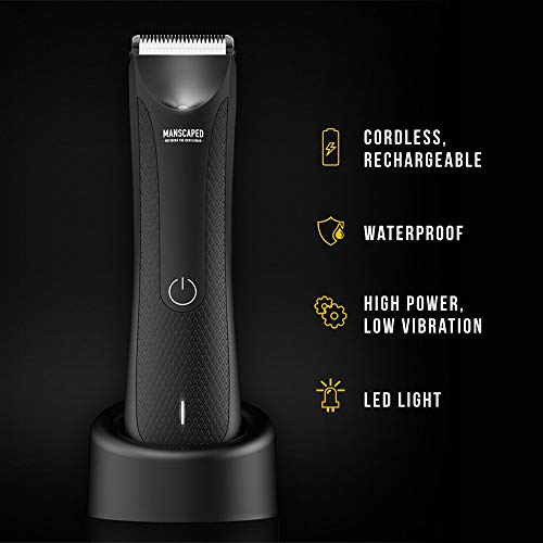 MANSCAPED™ Electric Groin Hair Trimmer, The Lawn Mower™ 3.0, Replaceable Ceramic Blade Heads, Waterproof Wet / Dry Clippers, Standing Recharge Dock, Ultimate Male Hygiene Razor