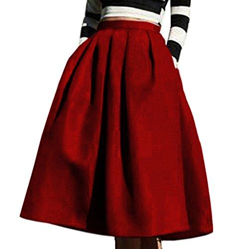 yige Women's High Waisted A line Skirt Skater Pleated Full Midi Skirt Wind Red US14