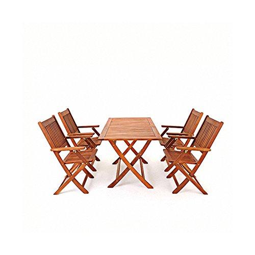 Tavoli E Sedie In Legno Da Esterno.Saiyun Set Di Tavoli E Sedie Da Giardino In Legno 4 Posti