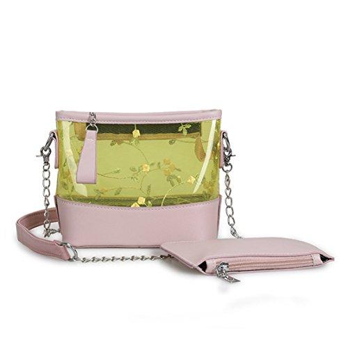Rrock Bolso Femenino Bolsa Transparente Hijo E Hija Bolso De Hombro Salvaje Paquete Diagonal Simple Tres Colores,Pink Pink
