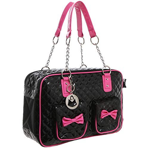 MyGift MG Collection Fashion Black Faux Patent Leather Quilt Soft Side Dog & Cat Travel Pet Carrier Tote Handbag