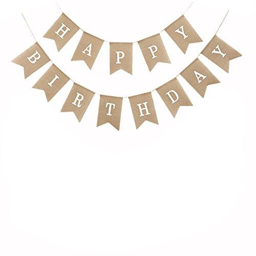 (Brcohco Burlap Happy Birthday Banner Rustic Hang Bunting Birthday Party Decortions)