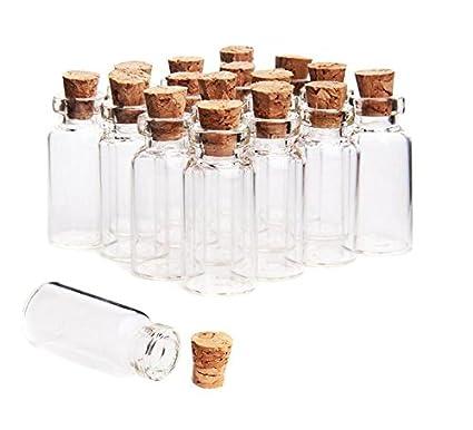 erioctry - Juego de 12 Mini tarros de Cristal con Tapones de Corcho para Mensajes de