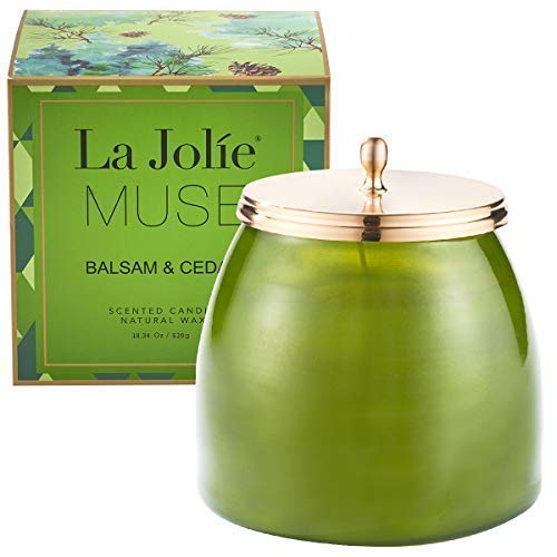 Essential Frosted Vases Glass (LA JOLIE MUSE Balsam Cedar Large Scented Candle - 18OZ Glass Jar Pine Candle, Natural Soy Wax)