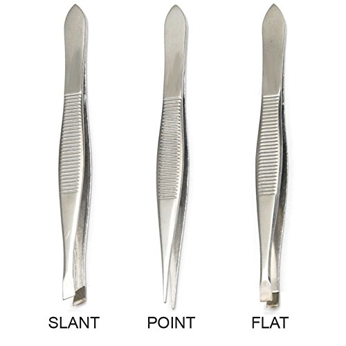 Luxxii (3 Pack) Tweezers Set - Stainless Steel Slant Tip, Flat, Point Tweezers Hair Plucker for Hair and Eyebrows Personal Care