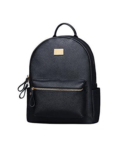 LA'FESTIN Escuela Mochila Cuero Book Bag Colegio Casual Daypacks (Kelly Negro)