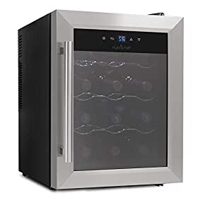 NutriChef 12 Bottle Thermoelectric Wine Cooler / Chiller | Counter Top Red And White Wine Cellar | FreeStanding Refrigerator, Quiet Operation Fridge | Stainless Steel – PKTEWC125