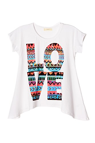 Poshsquare Big Girls Kids Cotton Graphic Prints Handkerchief Short Sleeve Tee T Shirt Top USA White S by Poshsquare (Image #3)