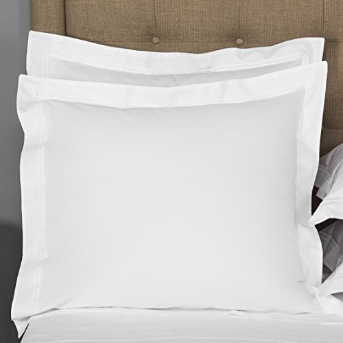 Thread Spread European Square Pillow Shams Set of 2 White 1000 Thread Count 100% Egyptian Cotton Pack of 2 Euro 26 x 26 Bright White Pillow Shams Cushion Cover, Cases - White Thread 1000