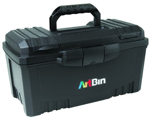 ArtBin 17-Inch Twin Top Tool Box- Black Art Craft Supply Storage Container, 6918AB -