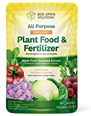 Eco Living Solutions - Natural Plant Food & Fertilizer from Seaweed   All Purpose Fertilizer   Flower Fertilizer   Garden Fertilizers   Vegetable Garden Fertilizer   Indoor Plant Food 🌱 - 3.5 Oz