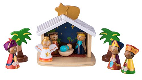 Children's 10 Piece Nativity Scene by Clever Creations | Manger, Jesus, Mary, Joseph, Angel, and Wise Men | Classic Christmas Decor | Stable Perfect for Shelves and Tables | 100% Wood | 7