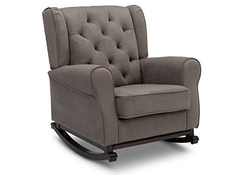 Delta Children Emma Upholstered Rocking Chair, Graphite
