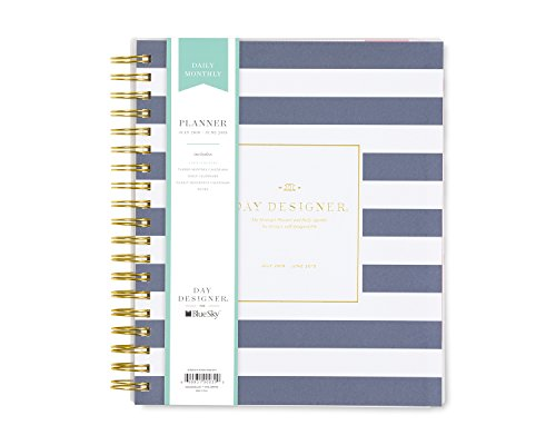 Day Designer for Blue Sky 2018-2019 Academic Year Daily & Monthly Planner, Flexible Cover, Twin-Wire Binding, 8
