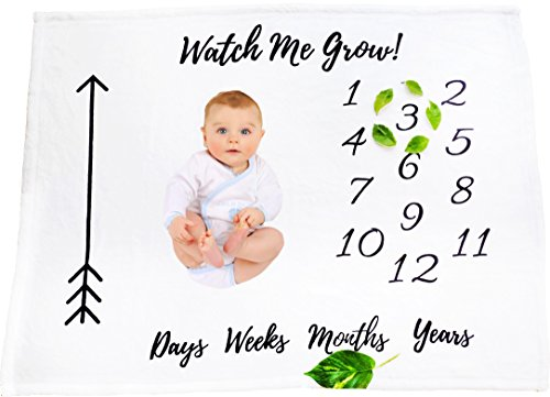Baby Newborn Milestone Blanket Photo Background Photography Monthly Growth Blanket Perfect for Boys or Girls growing infants and toddler first year milestone baby blanket throw blanket (Watch me Grow) (Couches Around Wrap For Sale)