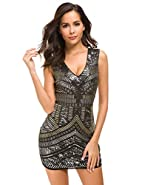 VVMCURVE Women's Sparkling Sequin Evening Sexy V Neck Nightclub Bodycon Backless Mini Party Dress